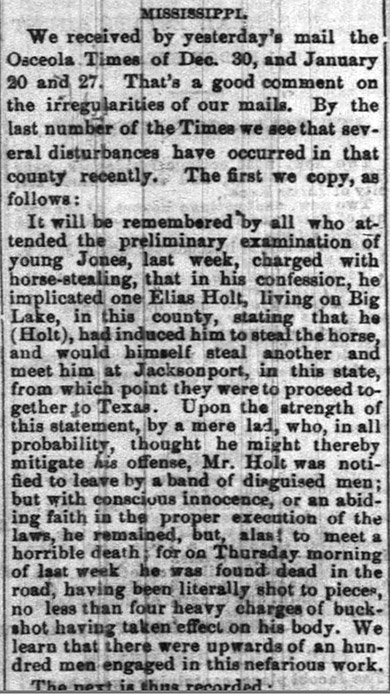 Elias Holt Lynching Article
