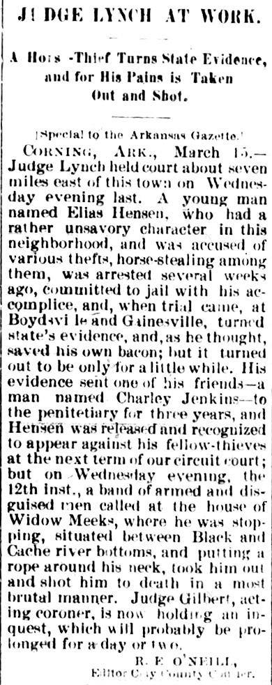 Elias Hensen Lynching Article
