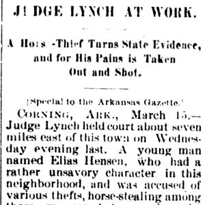 Elias Hensen Lynching Article