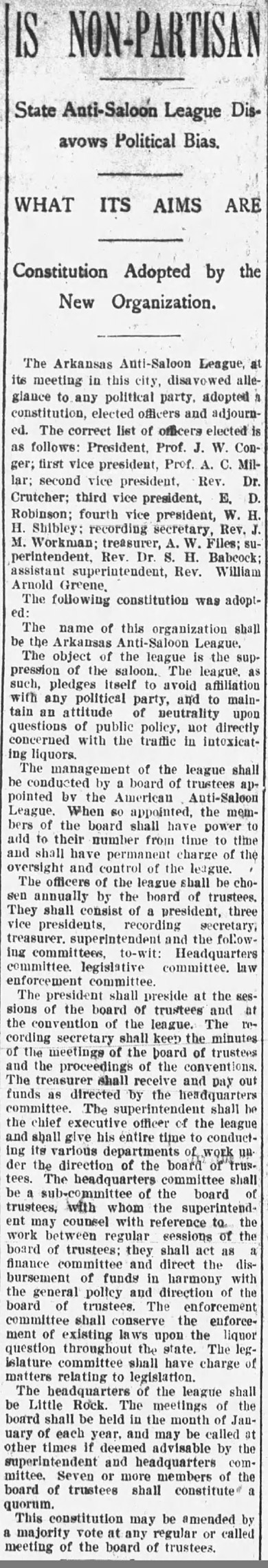 Arkansas Anti-Saloon League Article