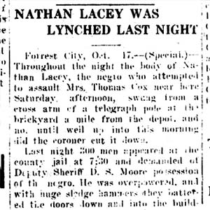 Nathan Lacey Lynching Article