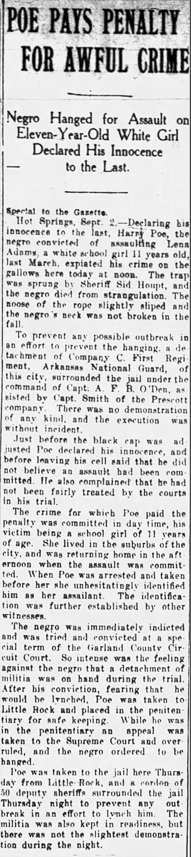 Harry Poe Execution Article