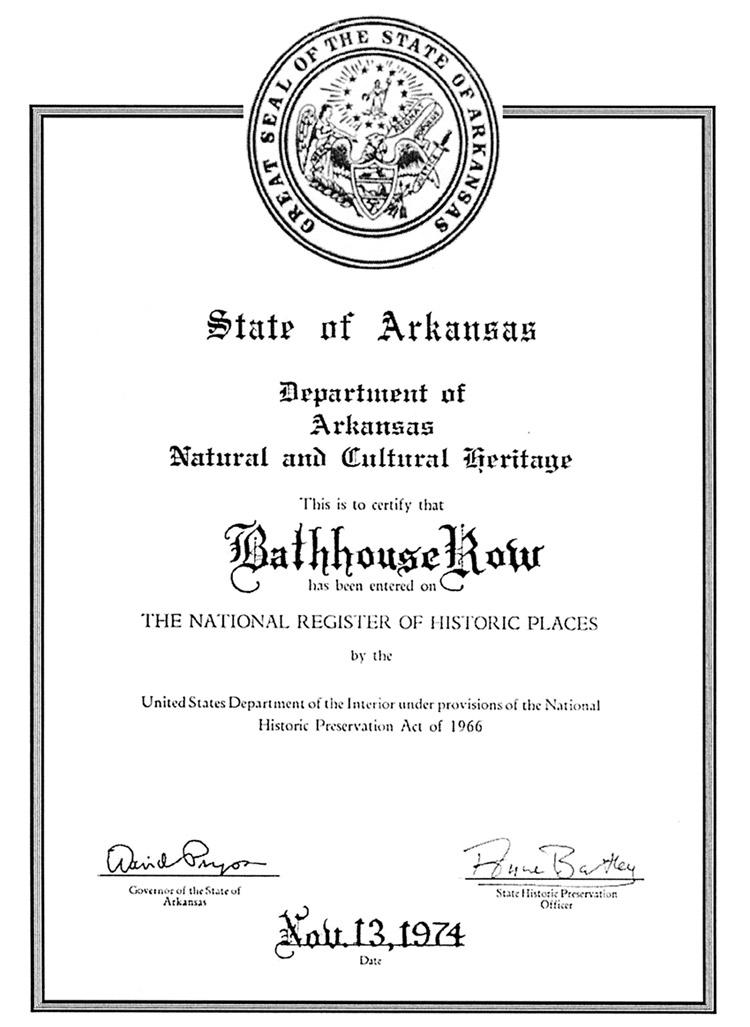 Bathhouse Row: Certification Document