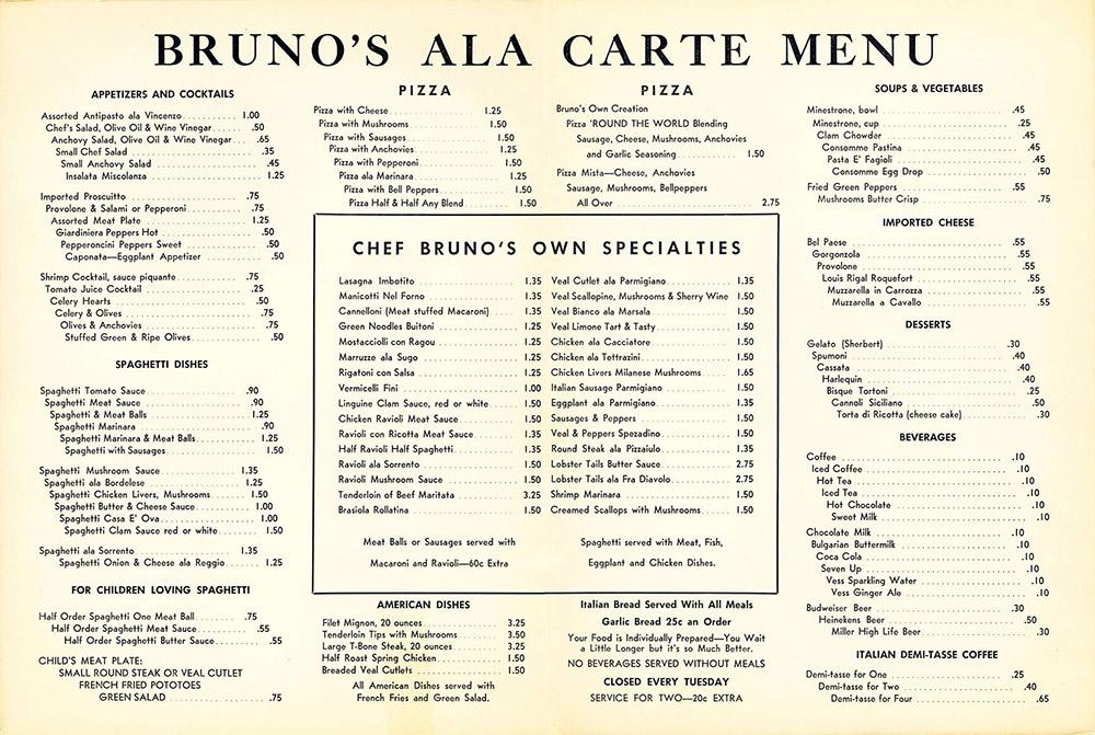 Bruno's Menu, 1950s