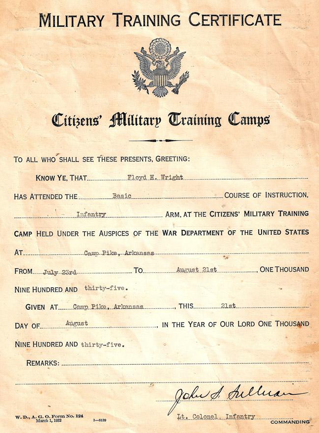 Camp Pike CMTC Certificate