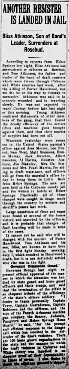 Cleburne County Draft War Article
