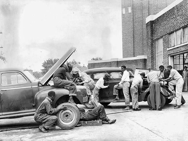 Dunbar High School Auto Mechanics Class