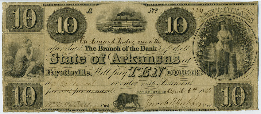 Arkansas State Bank Note, 1838