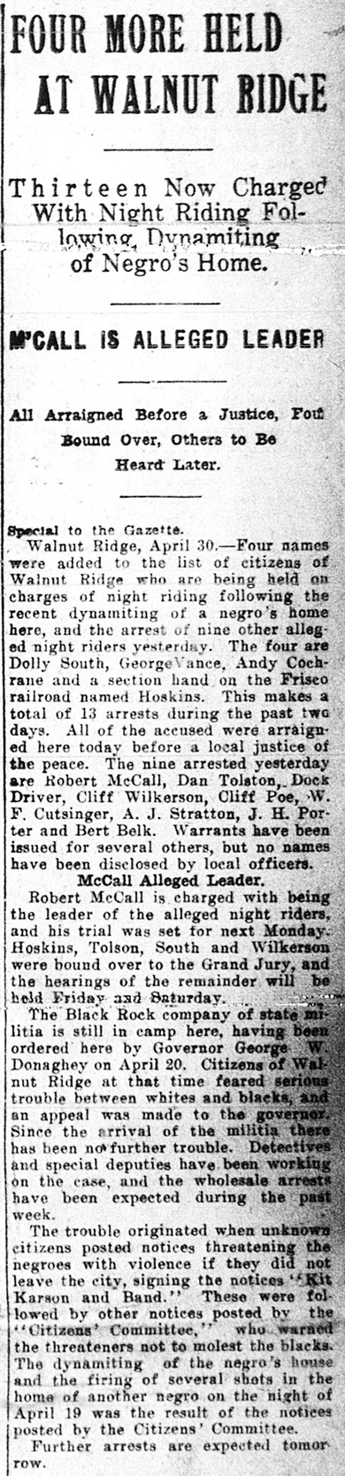 Article on the Walnut Ridge Race War