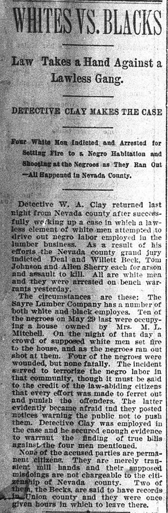 Nevada County Race War Article