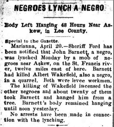 John Barnett Lynching Article
