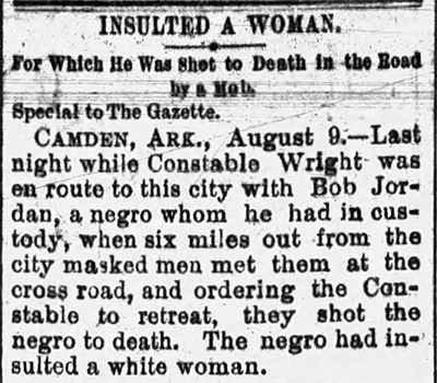 Bob Jordan Lynching Article