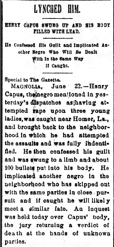Henry Capus Lynching Article