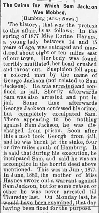 Ashley County Lynching Article