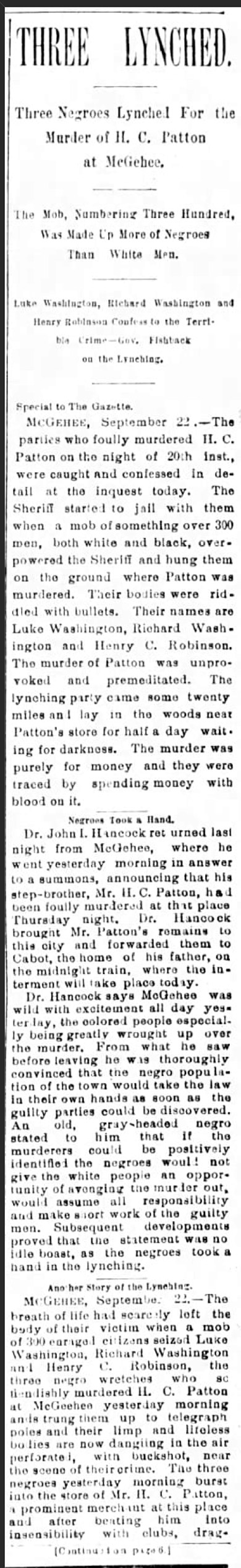 McGehee Lynching Article