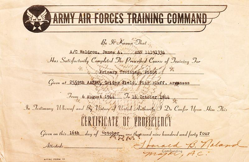 James Waldron Certificate