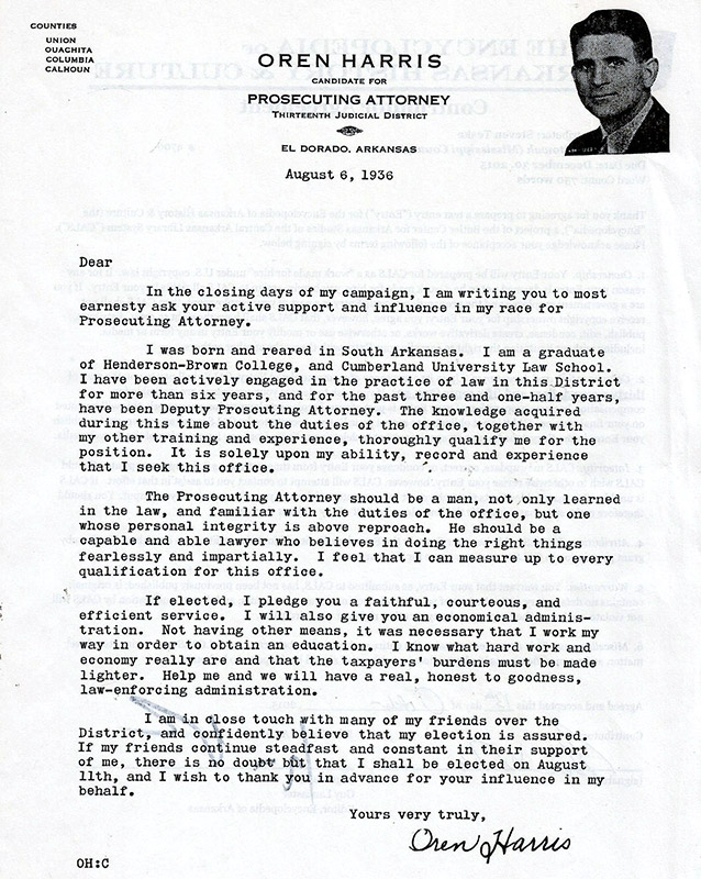 Oren Harris Campaign Letter