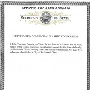 Holiday Island Certificate