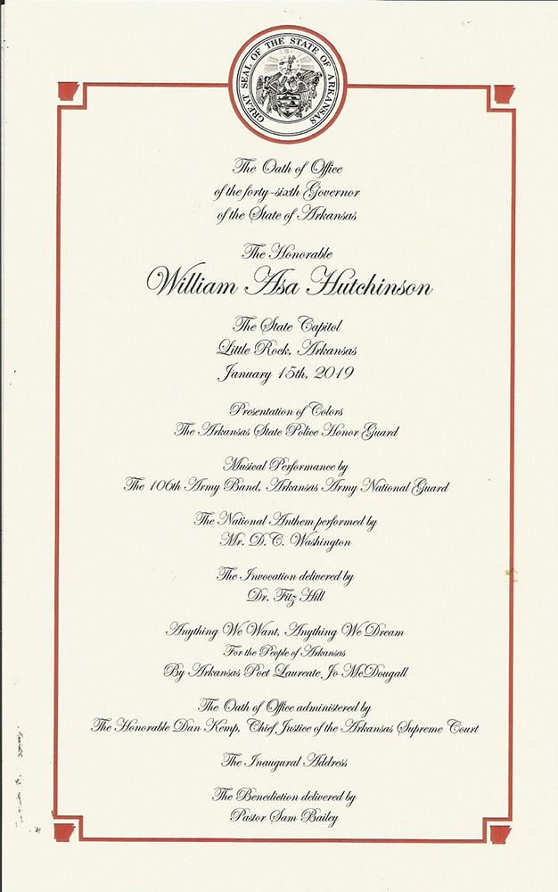 Hutchinson Inauguration Program