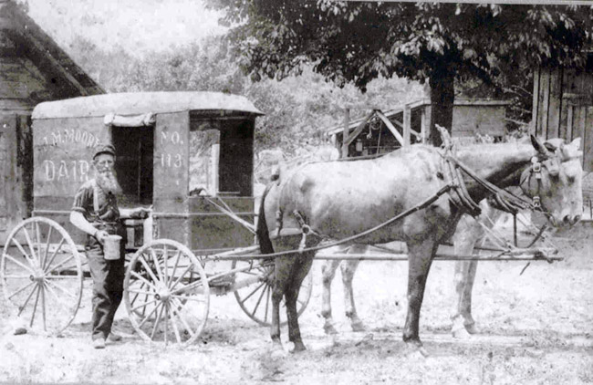 J. M. Moore Delivering Milk