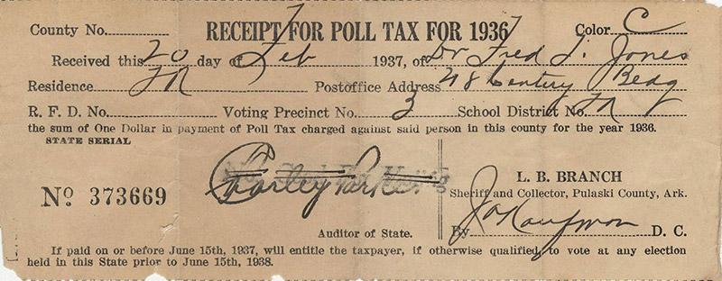 Jones Poll Tax Receipt