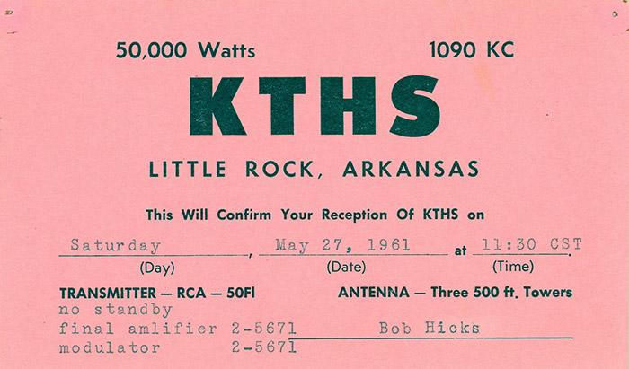 KTHS QSL Card