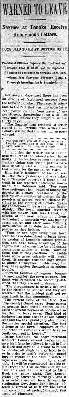 Lonoke Race Troubles Article