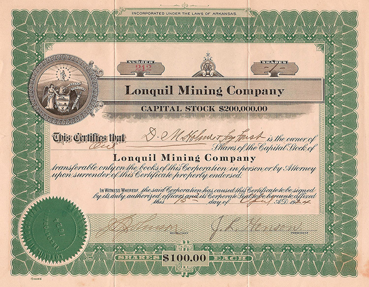 Lonquil Stock Certificate