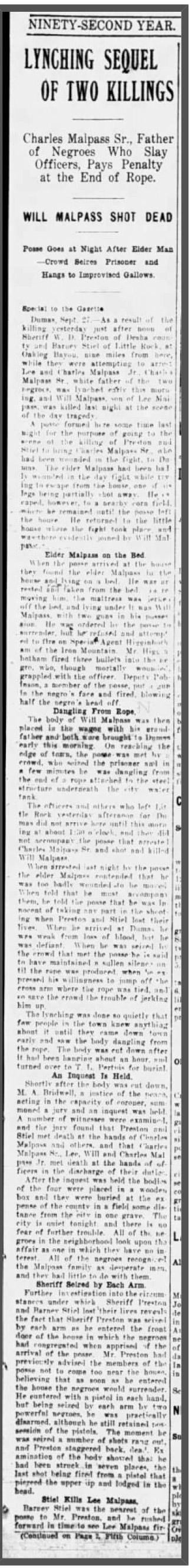 Malpass Lynching Article