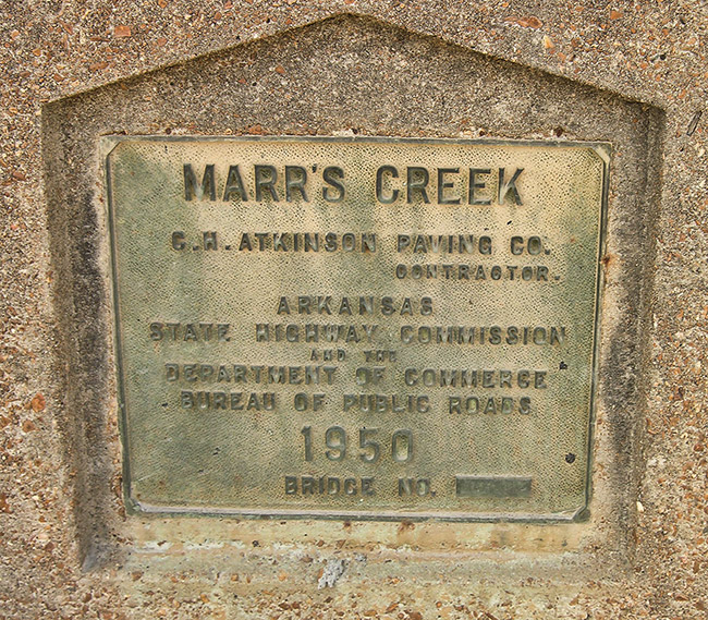 Marr's Creek Bridge Plaque