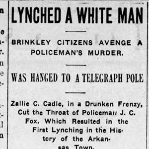 Zallie C. Cadle Lynching Article
