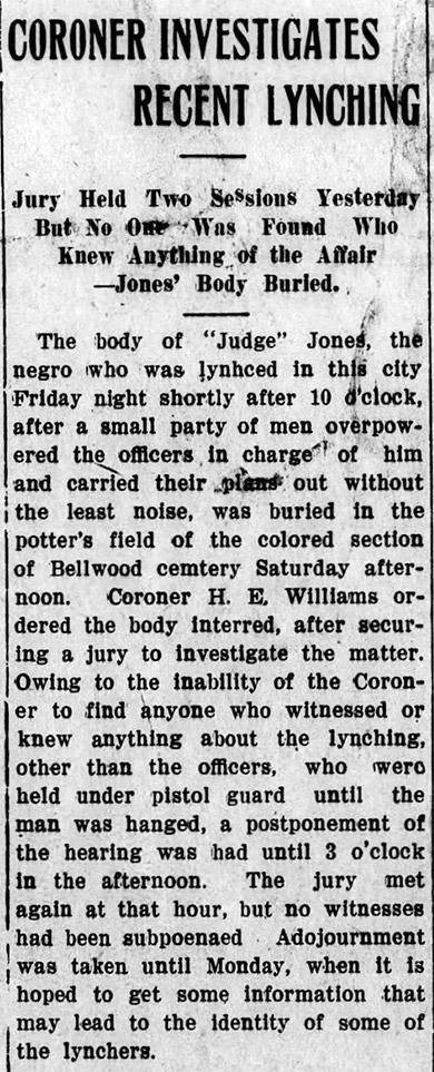 Judge Jones Lynching Article