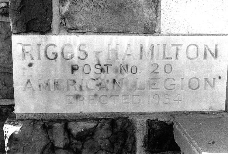 Riggs-Hamilton Legion Post Cornerstone