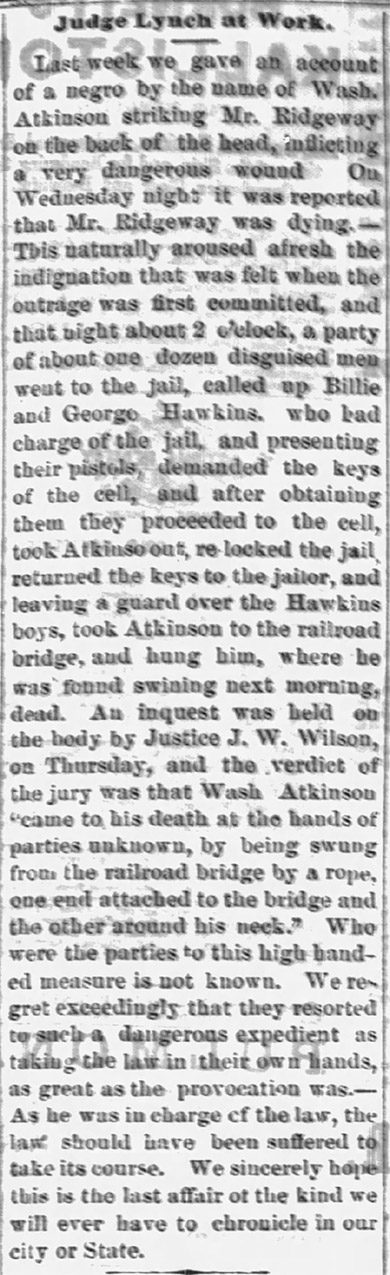Wash Atkinson Lynching Article