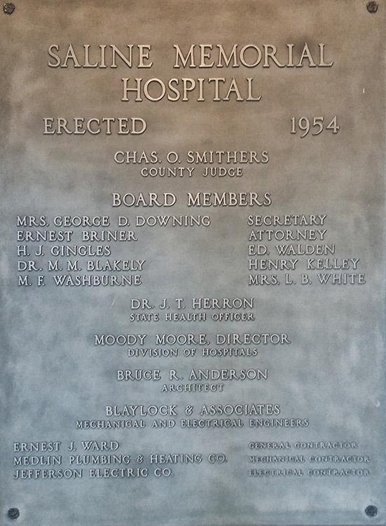 Saline Memorial Hospital Plaque