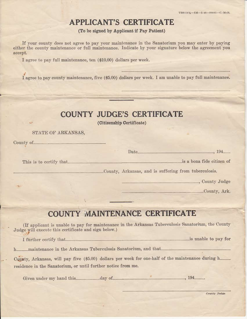 Applicant's Certificate