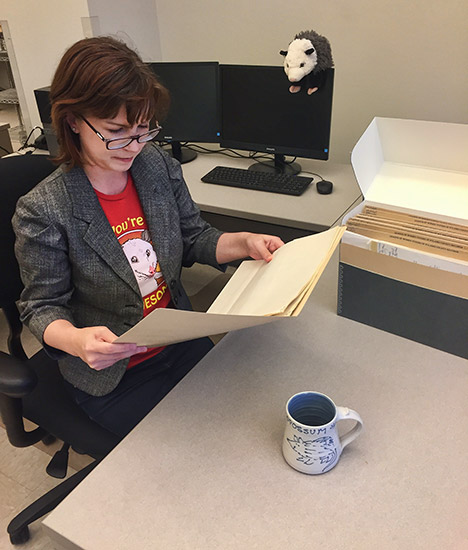 Archivist Shannon Lausch Researching