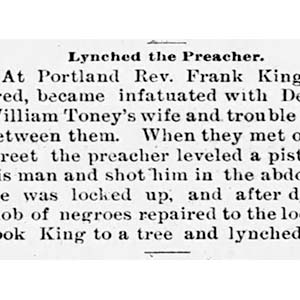 Frank King Lynching Article