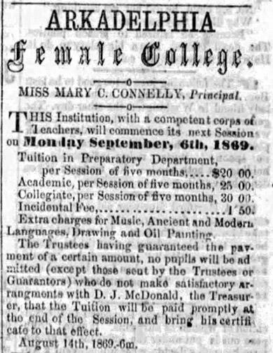 Arkadelphia Female College Ad