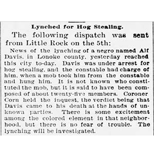 Alford Davis Lynching Article