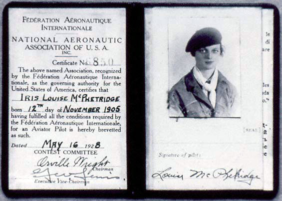 Louise Thaden's Pilot License