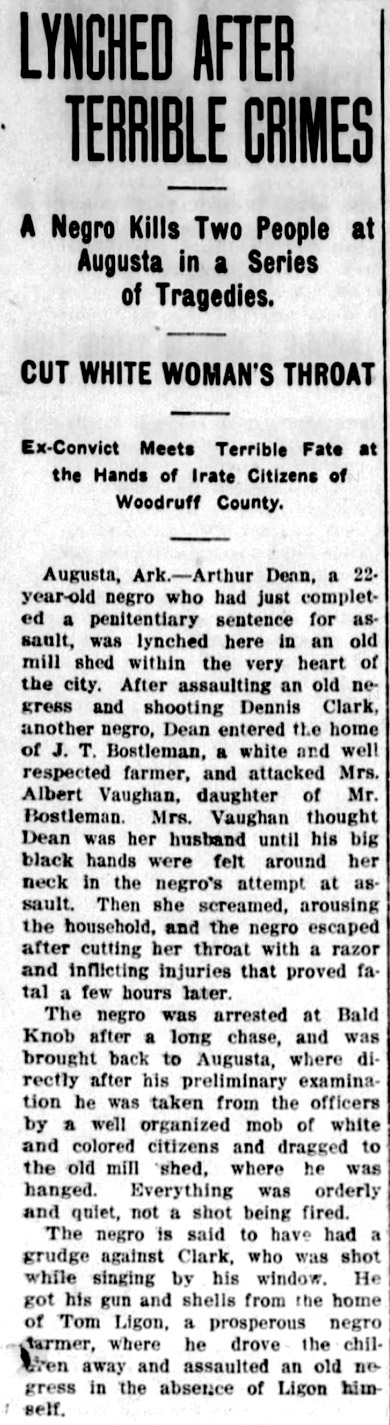 Arthur Dean Lynching Article