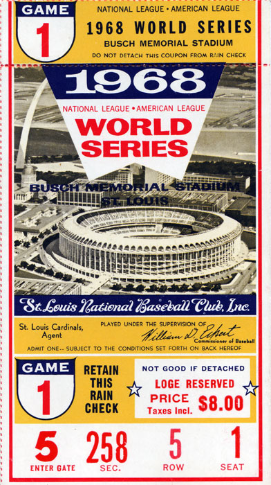 Ticket from World Series with Lou Brock