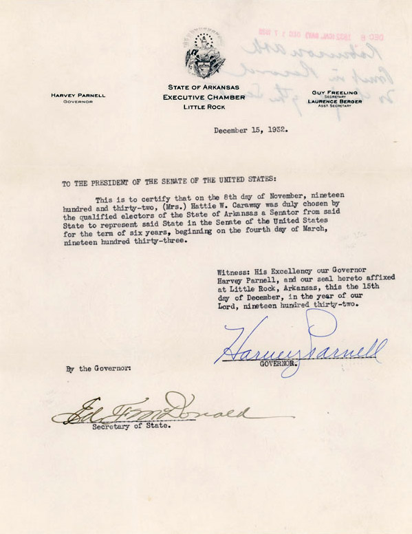 Hattie Caraway Appointment Certificate