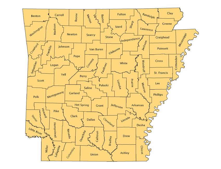 Arkansas Counties Map, 2005