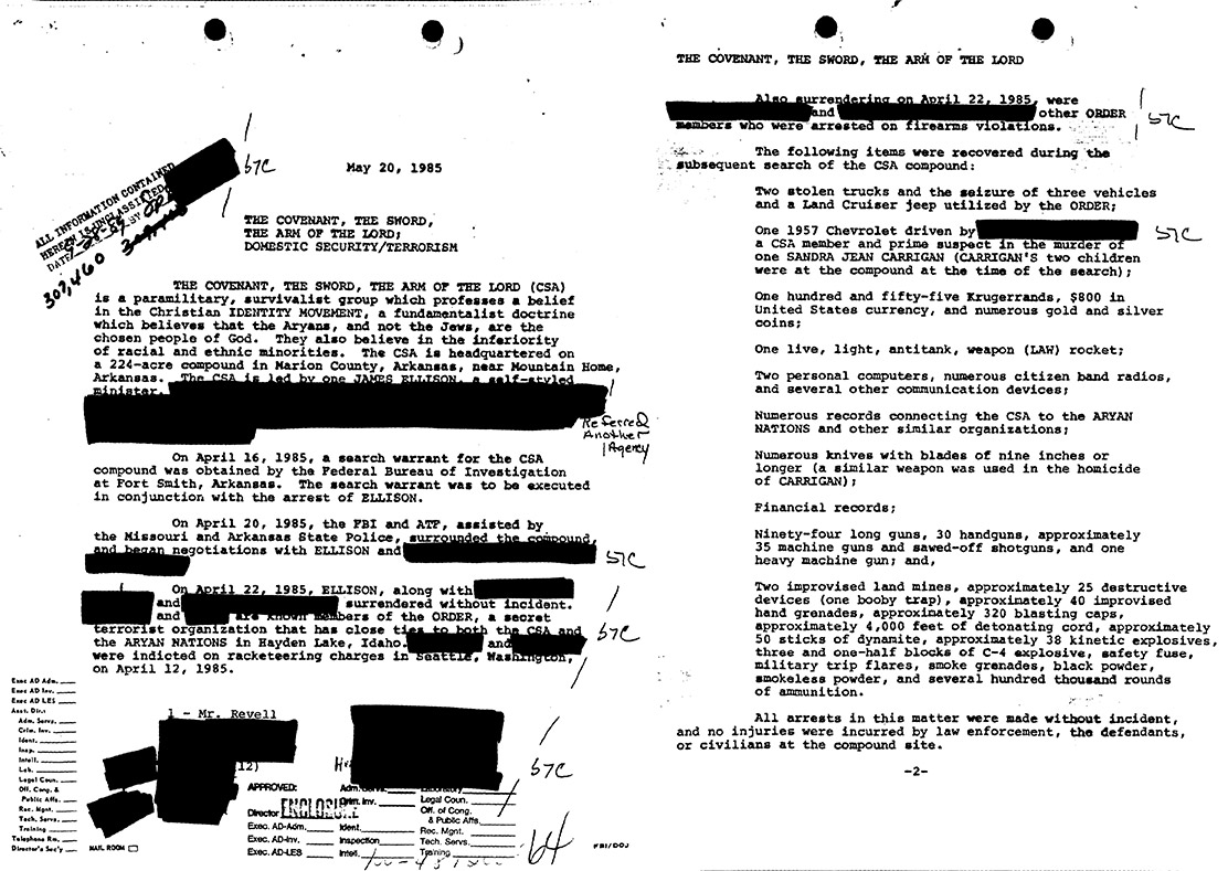 Covenant, Sword and Arm of the Lord's FBI File Document