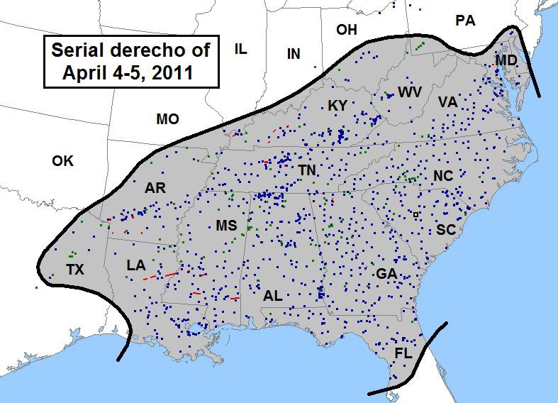 April 2011 Derecho / Area Affected