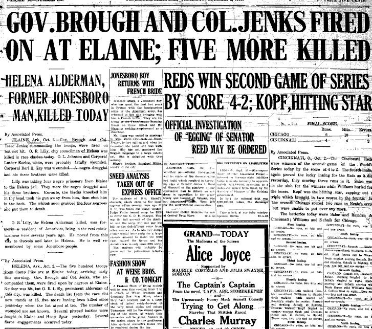 Elaine Massacre Newspaper Article