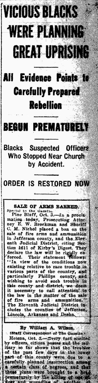 Elaine Massacre Newspaper Article