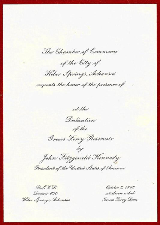 Greers Ferry Reservoir Dedication Invitation